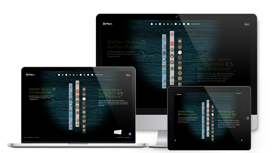 Darstellung der Webseite auf mobilen Geräten: Pees GmbH – Pees Buttons