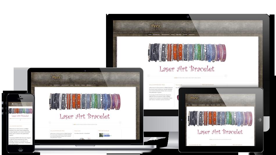 Darstellung der Webseite auf mobilen Geräten: Pees GmbH – Webseite inkl. Webshop