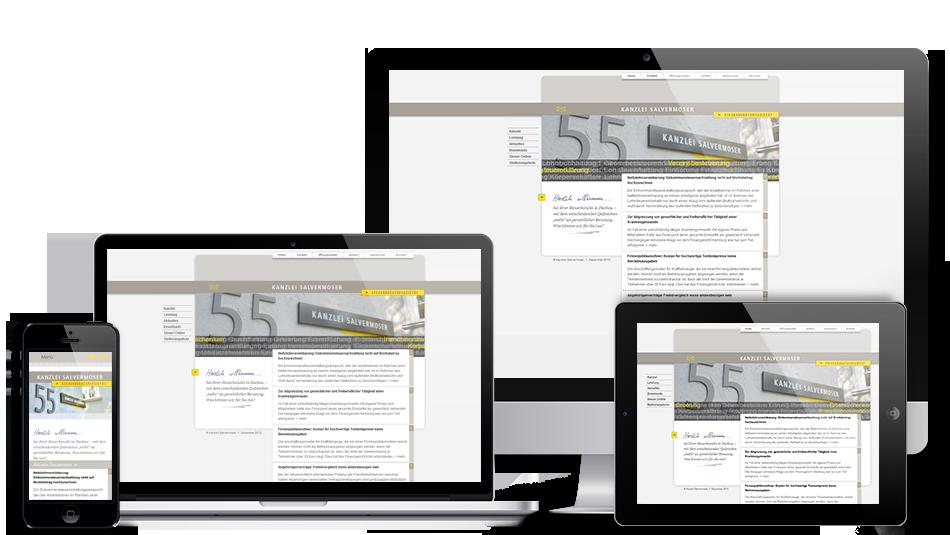 Darstellung der Webseite auf mobilen Geräten: Kanzlei Salvermoser