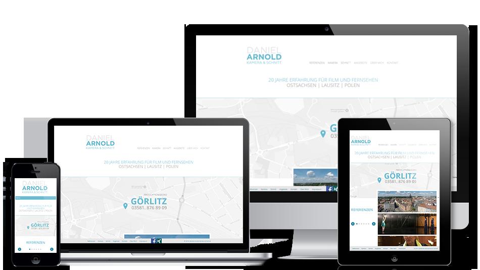 Darstellung der Webseite auf mobilen Geräten: Daniel Arnold Kamera & Schnitt