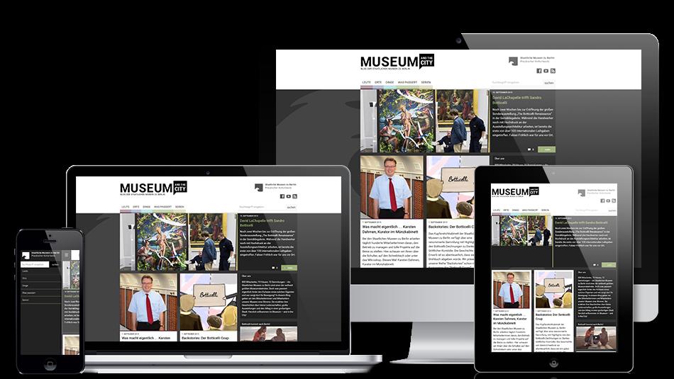 Darstellung der Webseite auf mobilen Geräten: Museum and the City